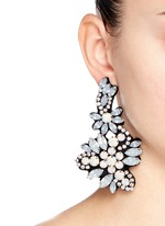 Fabric-backed crystal cluster earrings