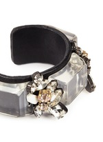 Crystal and leather cuff bracelet