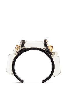 J.CREW Crystal and leather cuff bracelet