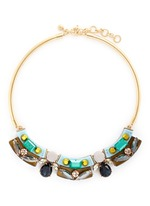 Lucite-and-crystal collar necklace