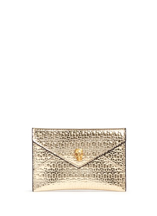 Main View - Click To Enlarge - Alexander McQueen - Skull textured mirror leather card holder