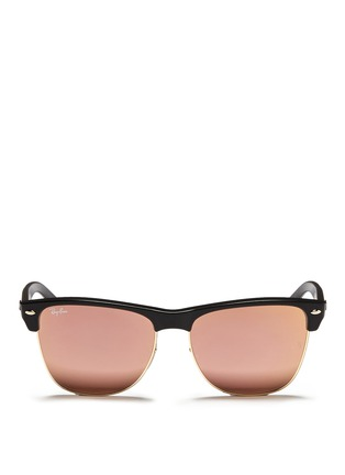 Main View - Click To Enlarge - Ray-Ban - 'Clubmaster Oversized' matte plastic browline mirror sunglasses