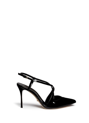 Main View - Click To Enlarge - SERGIO ROSSI - 'Bon Ton' slingback patent leather pumps