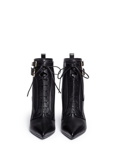 SERGIO ROSSI Elastic lace-up leather ankle boots