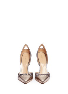 SERGIO ROSSI Laser cut suede wavy mirror leather d'Orsay pumps
