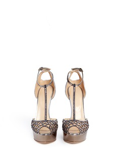 SERGIO ROSSI'Tresor' strass pavé mirror leather sandals