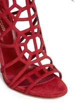'Puzzle' suede cutout cage sandals