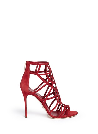 Main View - Click To Enlarge - SERGIO ROSSI - 'Puzzle' suede cutout cage sandals