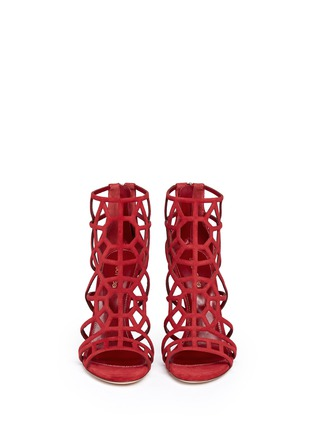 Figure View - Click To Enlarge - SERGIO ROSSI - 'Puzzle' suede cutout cage sandals