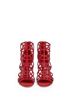 SERGIO ROSSI'Puzzle' suede cutout cage sandals