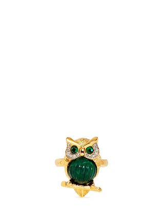 Main View - Click To Enlarge - Kenneth Jay Lane - Crystal pavé emerald owl ring