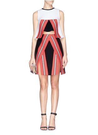 模特示范图 - 点击放大 - TANYA TAYLOR - Emmy条纹开衩半身裙