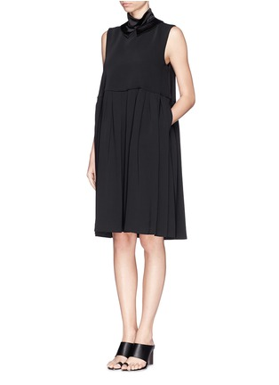 Figure View - Click To Enlarge - Ellery - 'Splash' satin collar pleat dress