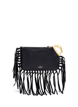 Back View - Click To Enlarge - Valentino - Gryphon fringe leather finger clutch