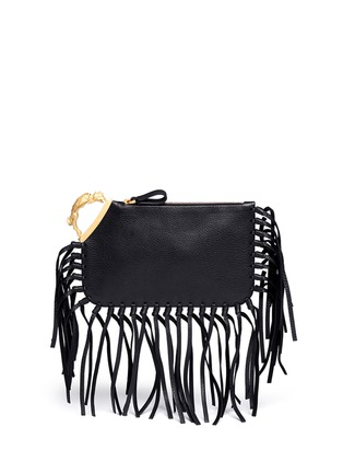 Main View - Click To Enlarge - Valentino - Gryphon fringe leather finger clutch