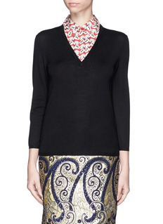 TORY BURCH 'Lacey' shirt collar insert sweater