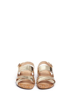 PEDDER REDMetallic leather strap cork sandals