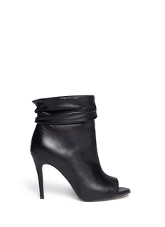 PEDDER RED Peep toe ruche cuff leather ankle boots
