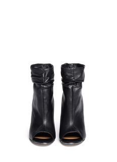 PEDDER REDPeep toe ruche cuff leather ankle boots