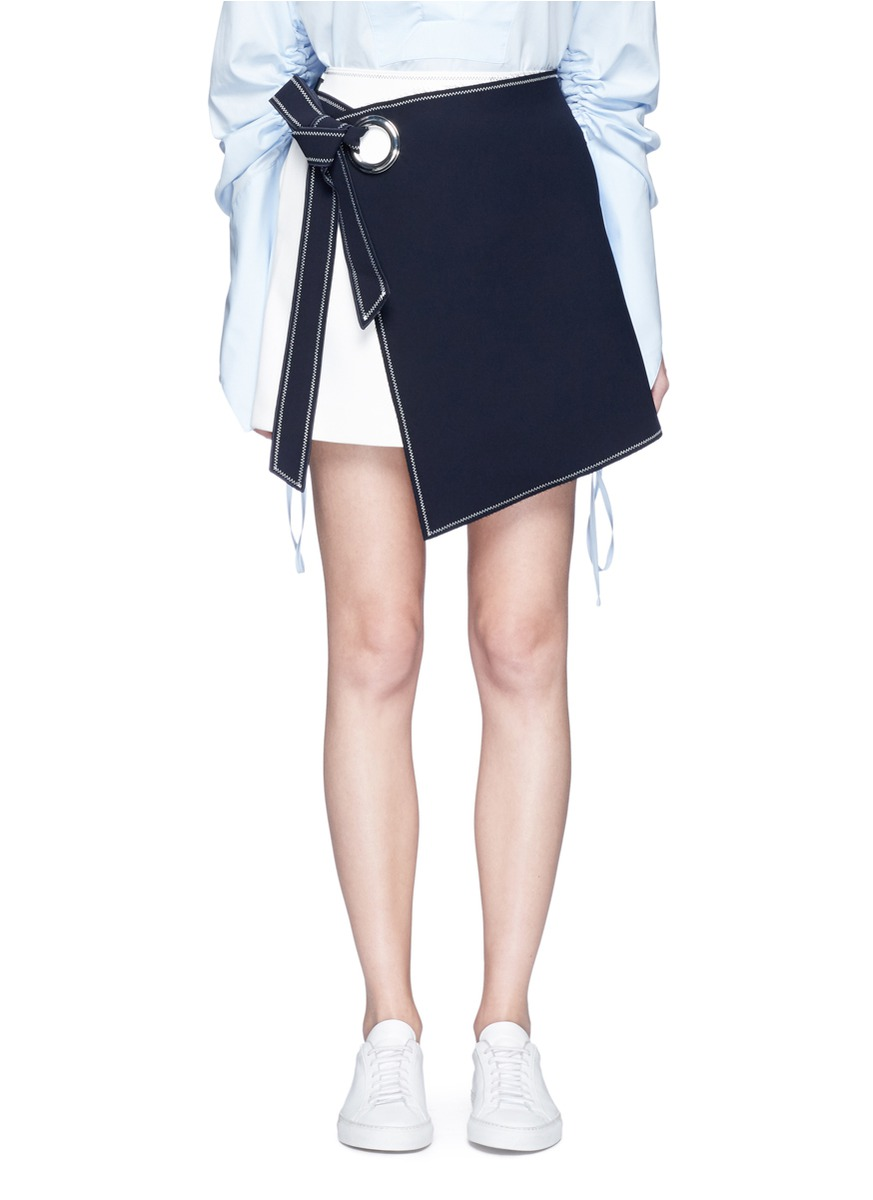 Colourblock mock wrap belted crepe skirt by Comme Moi