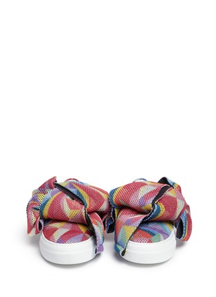 Front View - Click To Enlarge - Joshua Sanders - Twist bow mesh slip-on sneakers