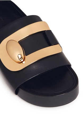 Detail View - Click To Enlarge - Stella Luna - 'Stella' turnlock buckle leather platform slide sandals