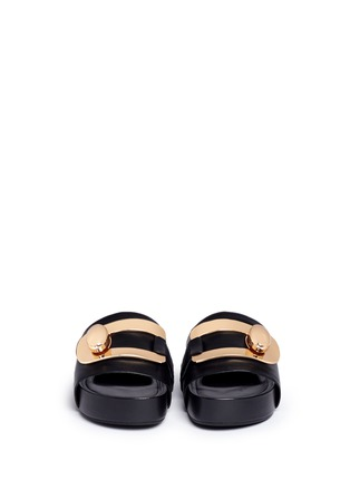 Front View - Click To Enlarge - Stella Luna - 'Stella' turnlock buckle leather platform slide sandals