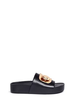 Main View - Click To Enlarge - Stella Luna - 'Stella' turnlock buckle leather platform slide sandals