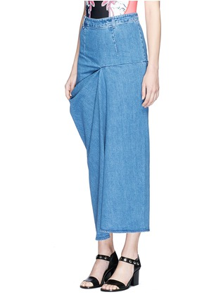 Front View - Click To Enlarge - Stella McCartney - 'Heidi' draped side denim maxi skirt