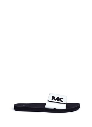 Main View - Click To Enlarge - Michael Kors - 'MK' logo faux leather band rubber slide sandals