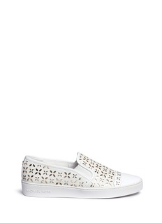 Michael Kors 'Susanna' lasercut perforated leather slip-on sneakers