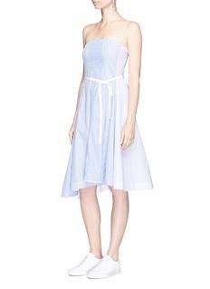 Theory'Trelle C' asymmetric hem strapless stripe dress
