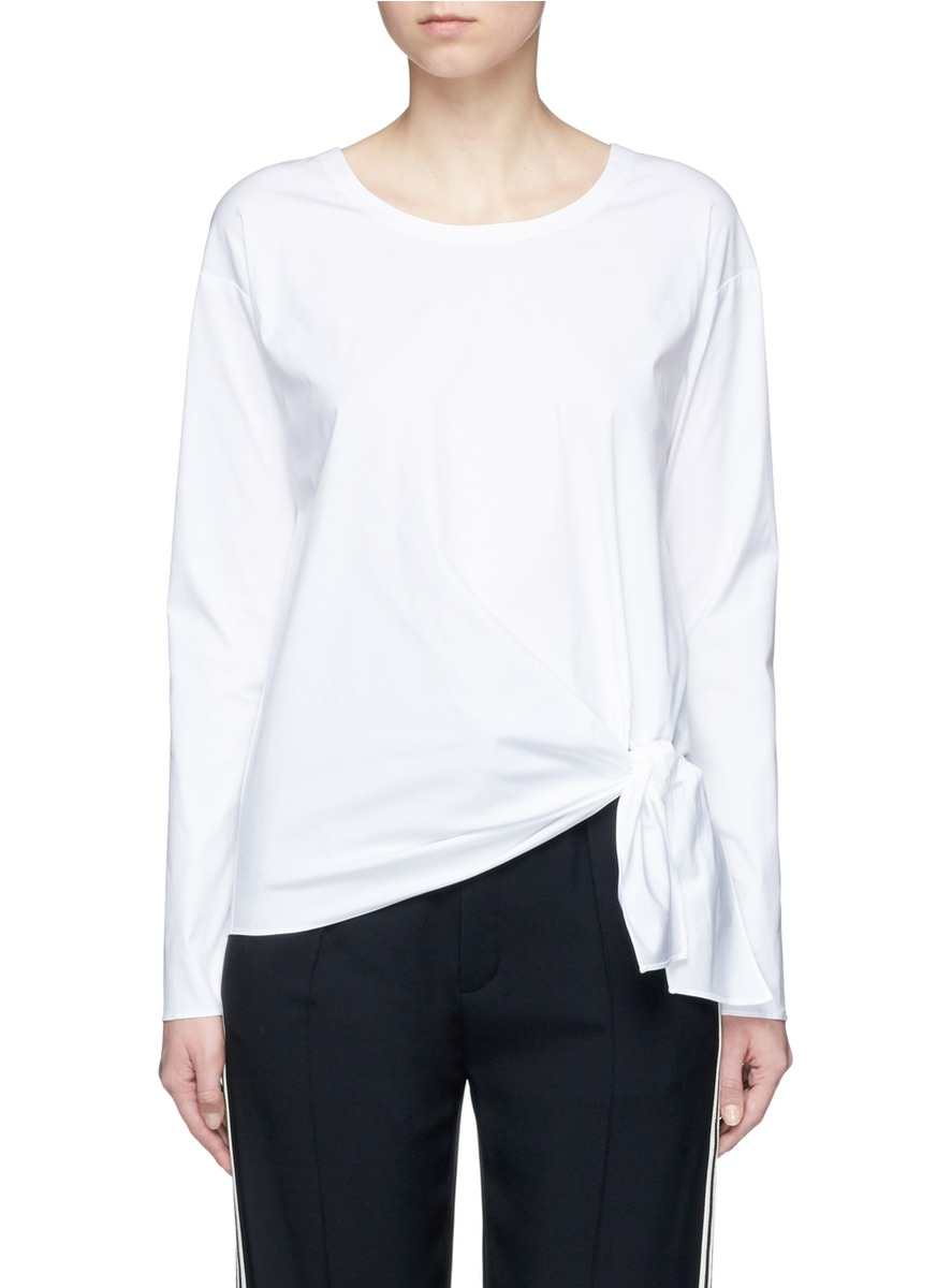 Serah knotted stretch cotton poplin top by Theory