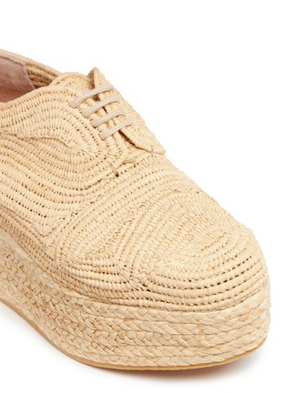 Detail View - Click To Enlarge - Robert Clergerie - 'Pinto' raffia wedge platform Oxfords