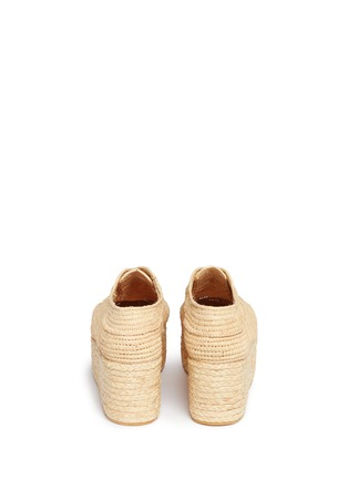 Back View - Click To Enlarge - Robert Clergerie - 'Pinto' raffia wedge platform Oxfords