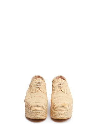 Front View - Click To Enlarge - Robert Clergerie - 'Pinto' raffia wedge platform Oxfords