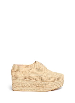 Main View - Click To Enlarge - Robert Clergerie - 'Pinto' raffia wedge platform Oxfords
