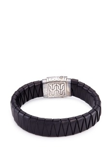 John Hardy Rhodium silver dotted charm braided leather jawan bracelet
