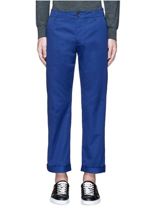 Main View - Click To Enlarge - Gucci - Contrast trim rolled cuff cotton chinos
