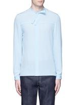 Neck sash silk crepe shirt