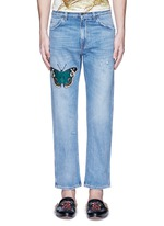 Butterfly embroidery cropped cotton jeans