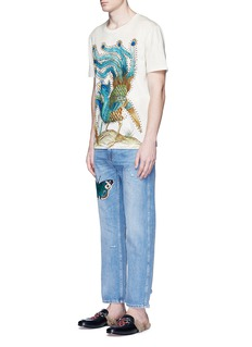 Gucci Butterfly embroidery cropped cotton jeans