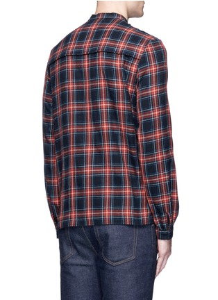 Back View - Click To Enlarge - Gucci - Neck sash tartan plaid flannel shirt