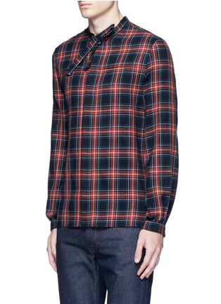Front View - Click To Enlarge - Gucci - Neck sash tartan plaid flannel shirt