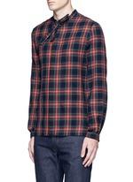 Neck sash tartan plaid flannel shirt