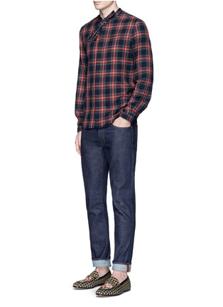 Figure View - Click To Enlarge - Gucci - Neck sash tartan plaid flannel shirt