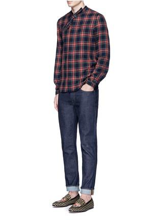 Gucci-Neck sash tartan plaid flannel shirt