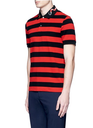 Front View - Click To Enlarge - Gucci - Snake and bee embroidery stripe polo shirt