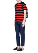 Snake and bee embroidery stripe polo shirt