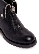 Skull zip grainy leather boots